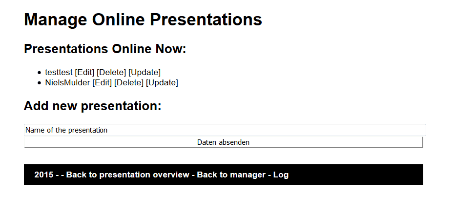 Overview of all presentations in the respective directory and links for editing them