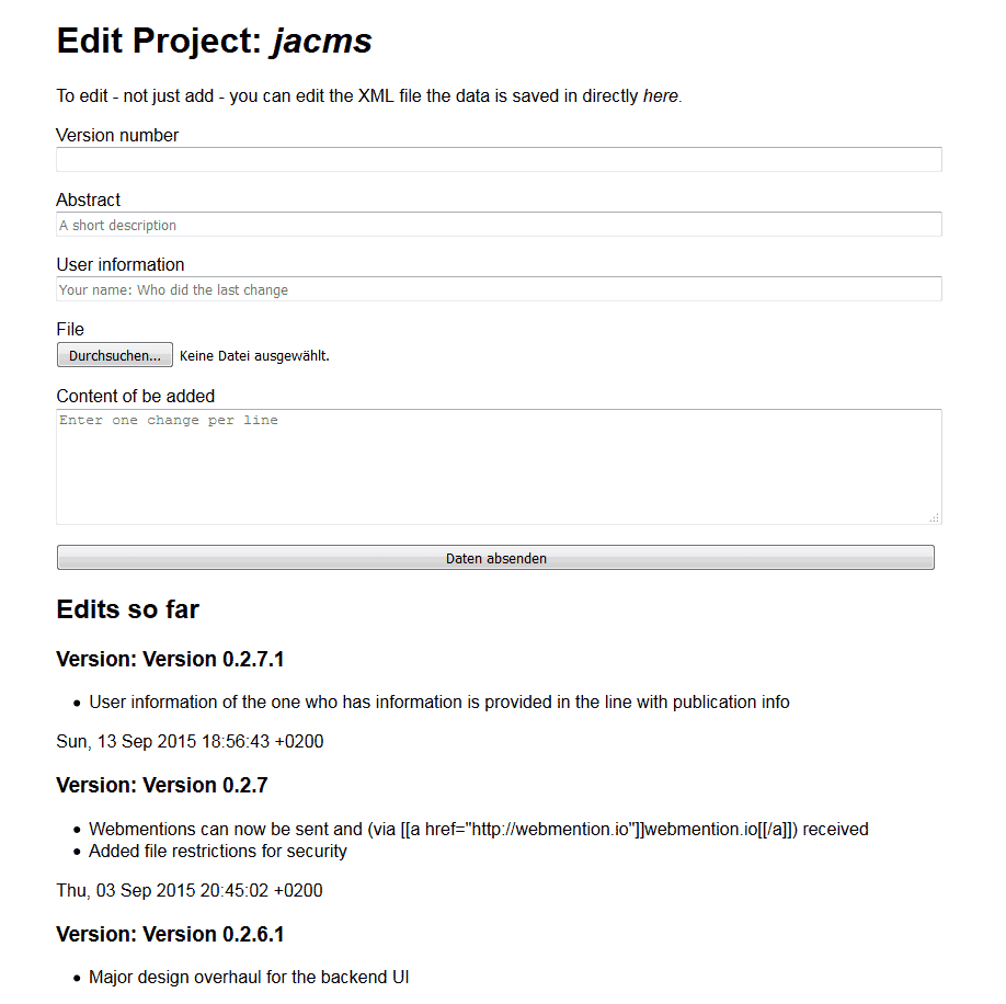 Editing project information